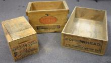 THREE VINTAGE WOODEN ADVERTISING CRATES  COPPERHEAD MATCHES + CROSS TACKS + PRES-TO-LOGS LEWISTON IDAHO LARGEST IS 24.5