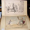 Collection of 13 mounted, unframed 19th century