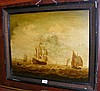An oil on board of French battleships - En