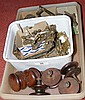 Assorted wood and brass door handles, etc