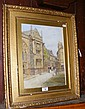 Watercolour of church and street scene - signed