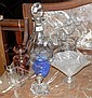 A cut glass decanter with stopper, together with