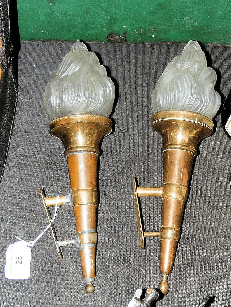 A pair of Art Deco copper and brass wall lights