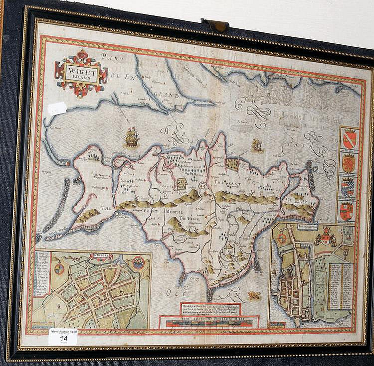 JOHN SPEED - 17th century hand coloured map of the