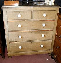 A Victorian stripped pine chest of drawers
