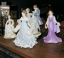 A Royal Worcester figurine, together with three