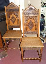 A pair of Gothic style 19th century carved hall