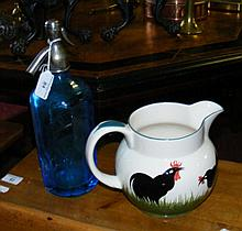 A Mew Langton soda syphon, together with a pottery