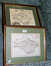 An old Isle of Wight map - framed and glazed, and