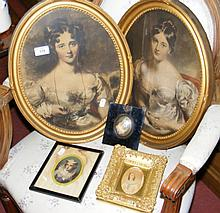 A miniature painting of Victorian lady, together