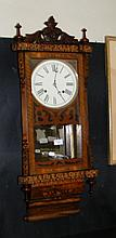 19th century inlaid wall clock with striking