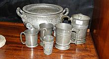 A selection of old pewter tankards, etc, some with