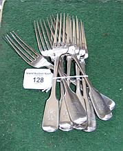 Eight silver dessert forks