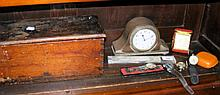 Various gent's wrist watches, mantel clock, etc