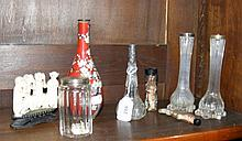 A pair of silver top vases, cloisonne vase, etc