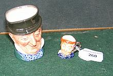 A Royal Doulton miniature character jug and one