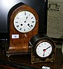 A lancet shaped striking mantel clock and one