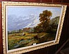 19th century oil on canvas of rural cottage and