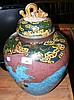 A large Chinese pottery vase and cover with