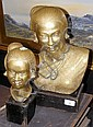 Two cast brass busts of Burmese women on wooden
