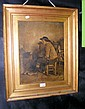 A 19th century oil on board of seated gentleman -