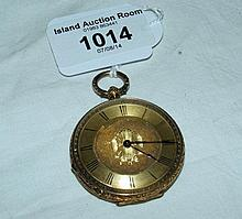 A lady's 18ct pocket watch with engraved