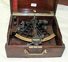 An old ship's sextant with original mahogany