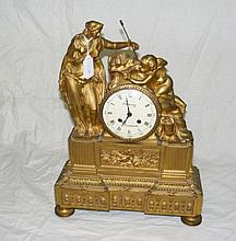 A good quality gilt French mantel clock, the dial