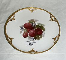 A KPM fruit painted dessert plate - gooseberries -