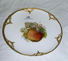 A KPM fruit painted dessert plate - apple and