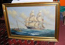PERCY DALTON - oil on canvas of two masted ship in