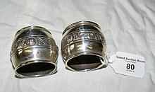 A pair of Irish silver napkin rings with Celtic
