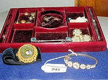 A selection of antique costume jewellery including