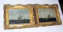 A pair of 19th century oil on panels - ships in