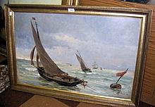 ALBERT FRANCOIS FLUERY - oil on canvas of sailing