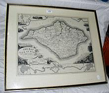 BRANNON - an old framed and glazed map of the Isle