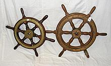 One 42cm and one 35cm diameter brass mounted