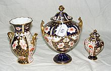 A Royal Crown Derby Imari style vase and cover,