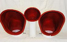 A pair of red and white painted funnel cowls and