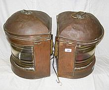 A pair of large copper ship's port and starboard