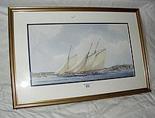 M. PEARSON - watercolour of J-Class yacht racing