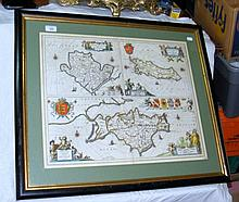 A 17th century hand-coloured map - Isle of Wight,