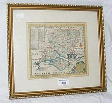 An 18th century hand-coloured map of Hampshire and