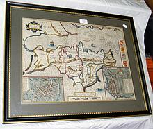 JOHN SPEED - 17th century hand-coloured map of the