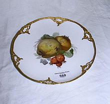 A KPM fruit painted dessert plate - having raised