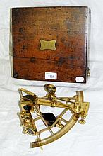 An antique gilt brass sextant by G. Whitbread,