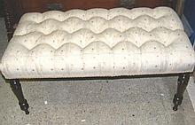 A William IV re-upholstered stool, measuring 92cm