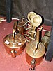 Old Victorian copper kettle, fire dogs etc.