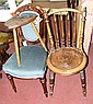 A Victorian side chair, together with one other