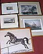 Various engravings, oriental horse pictures etc.